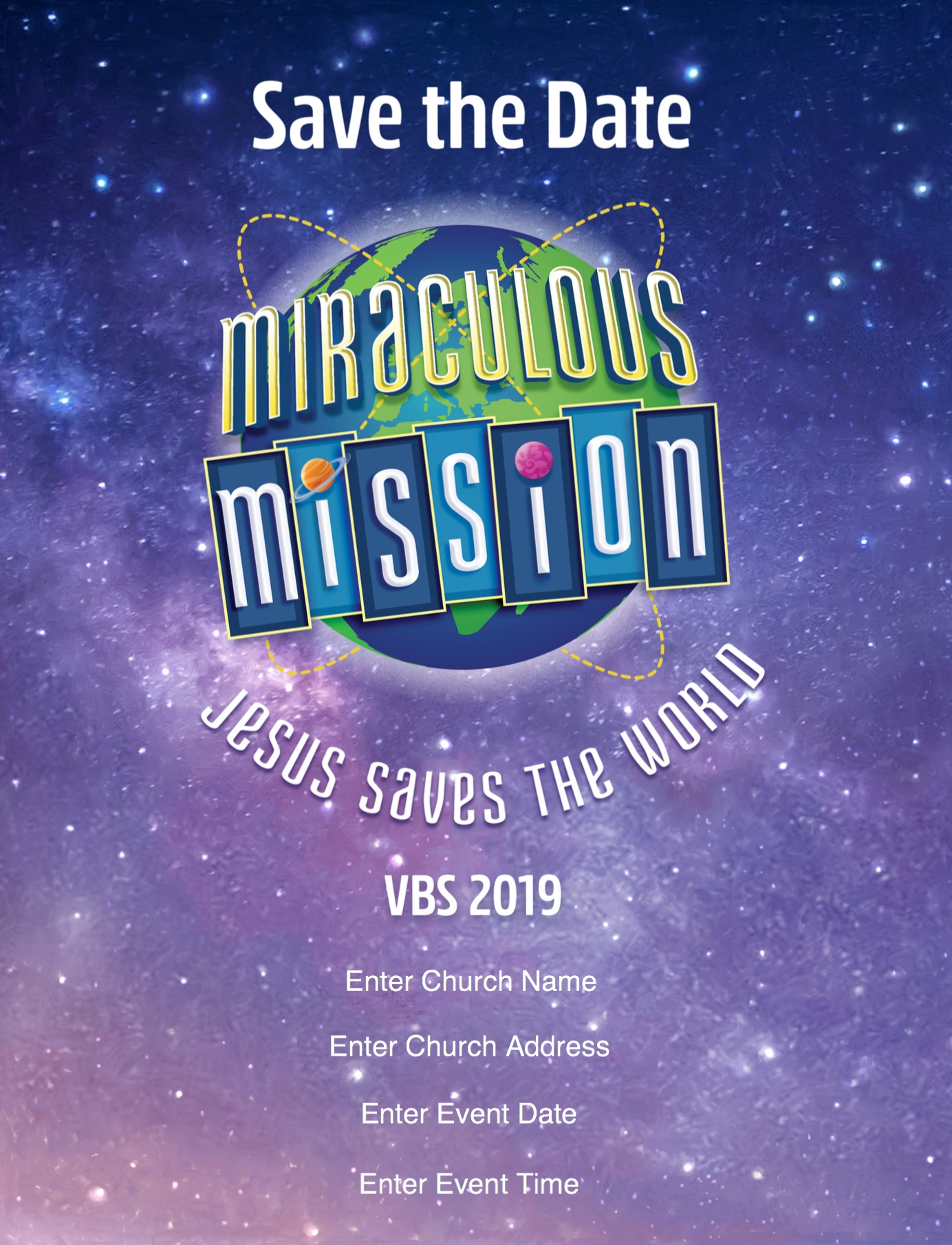 Miraculous Mission Save the Date Flyer